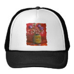 Face Vase with Purple Flowers in Red Background Trucker Hat