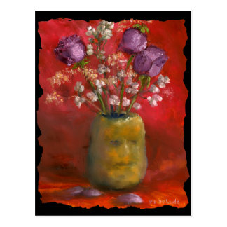 Face Vase with Purple Flowers in Red Background Postcard
