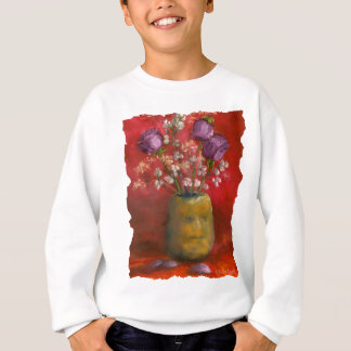 Face Vase with Purple Flowers in Red Background Sweatshirt