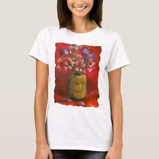 Face Vase with Purple Flowers in Red Background T-Shirt