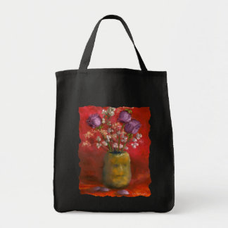 Face Vase with Purple Flowers in Red Background Tote Bag