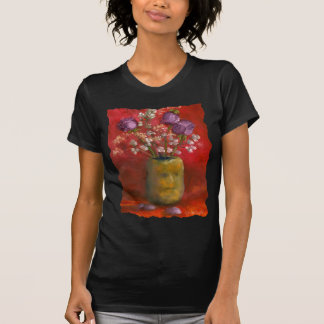 Face Vase with Purple Flowers in Red Background Tees