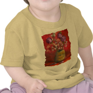 Face Vase with Purple Flowers in Red Background Shirts