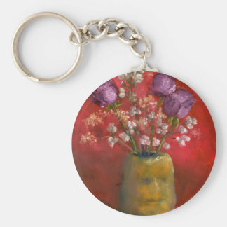 Face Vase with Purple Flowers in Red Keychain