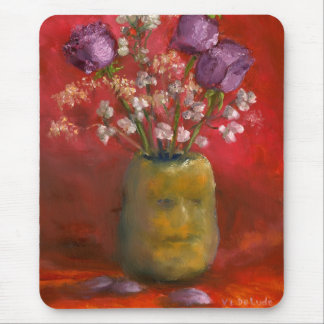 Face Vase with Purple Flowers in Red Mouse Pad