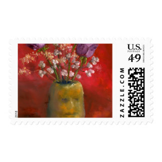 Face Vase with Purple Flowers in Red Postage