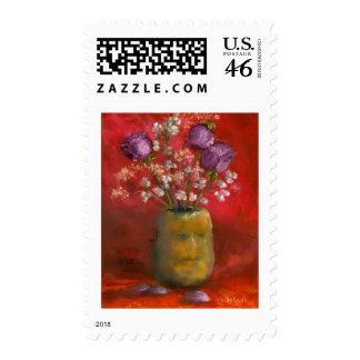 Face Vase with Purple Flowers in Red Stamp
