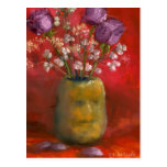 Face Vase with Purple Flowers in Red Postcard