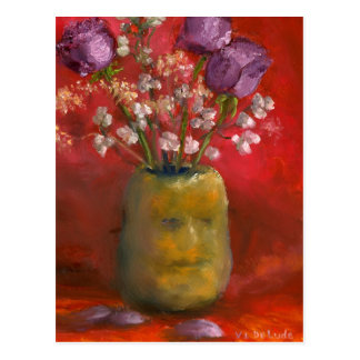 Face Vase with Purple Flowers in Red Post Card