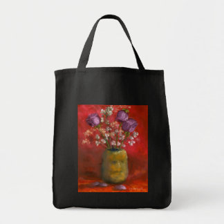 Face Vase with Purple Flowers in Red Tote Bag