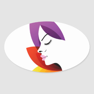 Face with colorful leaves oval sticker