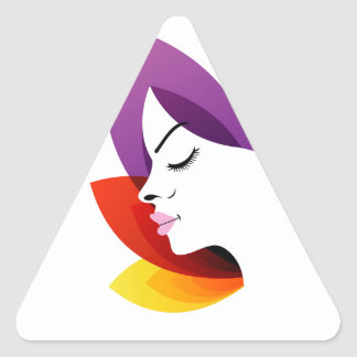 Face with colorful leaves triangle sticker