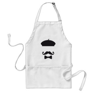 Face with french hat mustache and tie apron