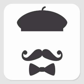 Face with french hat, mustache and tie square sticker