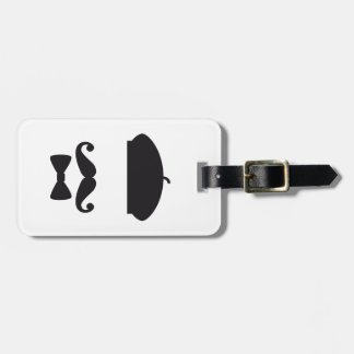 Face with french hat, mustache and tie tag for luggage