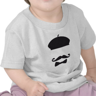 Face with french hat mustache and tie tshirt