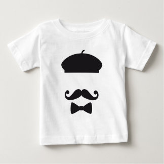 Face with french hat, mustache and tie tee shirts