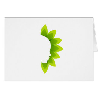 Face with green leaves card