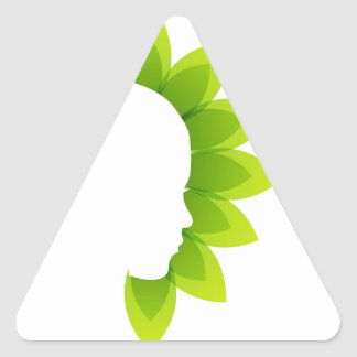 Face with green leaves triangle sticker