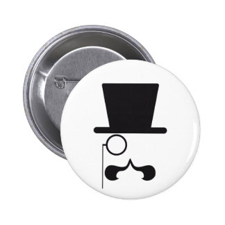 Face with hat, mustache and single eyeglass 2 inch round button