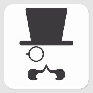 Face with hat, mustache and single eyeglass square sticker
