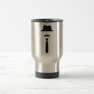 face with hat, mustache and tie travel mug