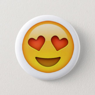 Face with heart shaped eyes emoji sticker button