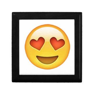 Face with heart shaped eyes emoji sticker jewelry box