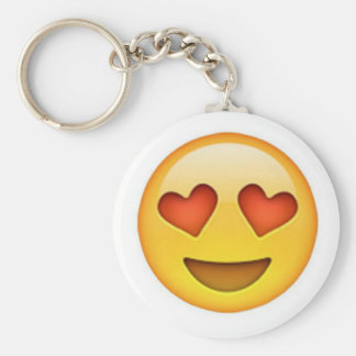 Face with heart shaped eyes emoji sticker keychain