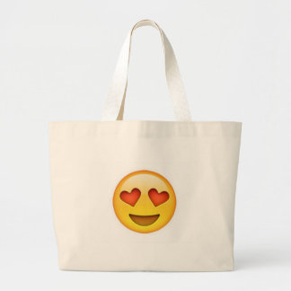 Face with heart shaped eyes emoji sticker large tote bag
