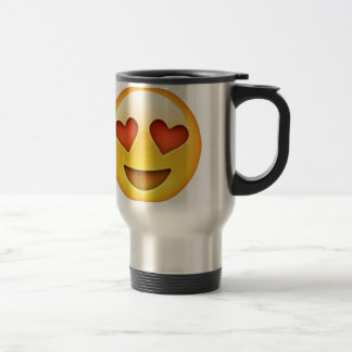 Face with heart shaped eyes emoji sticker travel mug