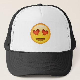 Face with heart shaped eyes emoji sticker trucker hat