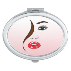 Face With Lipstick Girly Oval Compact Mirror at Zazzle