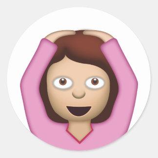 Face With OK Gesture Emoji Classic Round Sticker