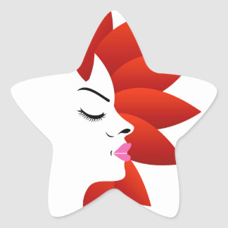 Face with red leaves star sticker