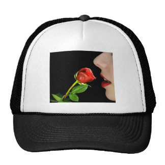 face with rose trucker hat