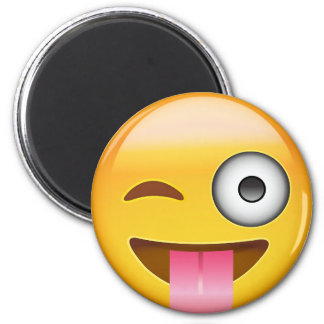 Face With Stuck Out Tongue And Winking Eye Emoji 2 Inch Round Magnet