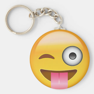 Face With Stuck Out Tongue And Winking Eye Emoji Basic Round Button Keychain