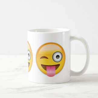 Face With Stuck Out Tongue And Winking Eye Emoji Classic White Coffee Mug