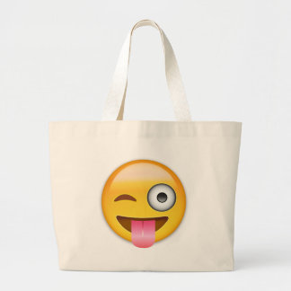 Face With Stuck Out Tongue And Winking Eye Emoji Large Tote Bag