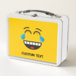"""Face With Tears of Joy Metal Lunch Box<br><div class=""""desc"""">A laughing emoji that is laughing so much that it is crying tears of joy. Custom text.</div>"""