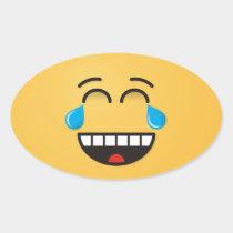 Face With Tears of Joy Oval Sticker