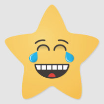 Face With Tears of Joy Star Sticker