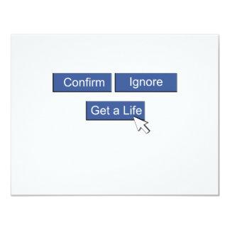 """Facebook consigue una vida invitación 4.25"""" x 5.5"""""""