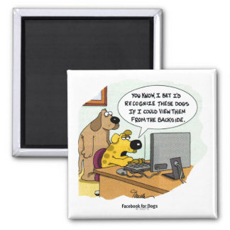 Facebook for Dogs 2 Inch Square Magnet
