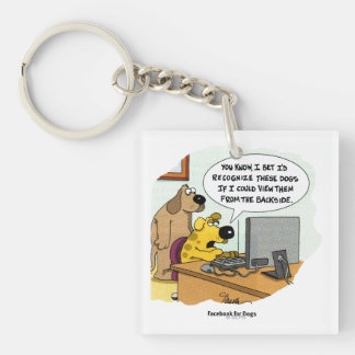 Facebook for Dogs Double-Sided Square Acrylic Keychain