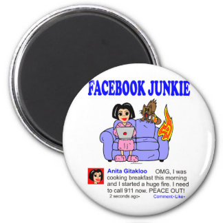 FACEBOOK JUNKIE 2 INCH ROUND MAGNET