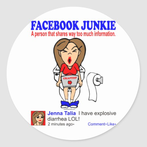 FACEBOOK JUNKIE ROUND STICKERS