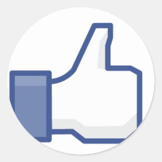 "Facebook ""Like"" Hand Classic Round Sticker"