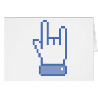 facebook like ROCK peace hand sign pixel graphic Card